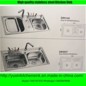 Fashionable One Piece Forming Ss201 Stainless Steel Double Bowl Kitchen Sink (DE9145)