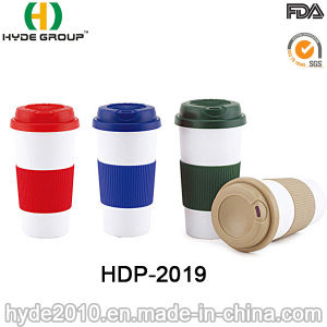 Double Wall Plastic Coffee Mug with Silicon Sleeve (HDP-2019) pictures & photos