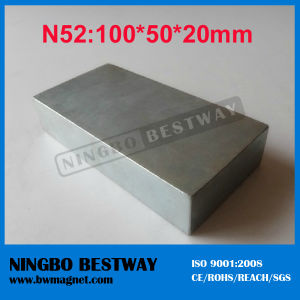 N52 Strongest Large Sintered NdFeB Block Magnet 100X50X20mm pictures & photos