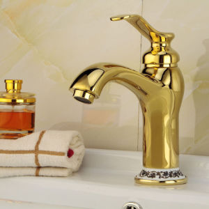 Antique Brass Basin Mixer with Gold Finish pictures & photos
