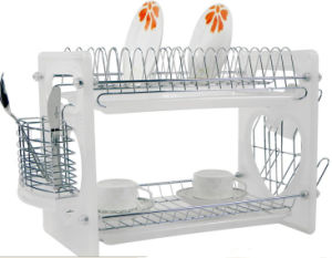 2 Layers Metal Wire Kitchen Dish Rack with Plastic Board No. Dr16-Bp01 pictures & photos