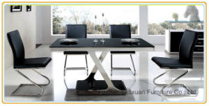 Modern Italian Furniture Glass Stainless Steel Dining Table with Cross Leg pictures & photos