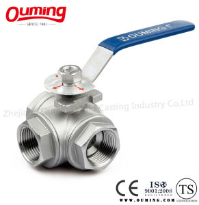 Stainless Steel Three Way Threaded Ball Valve with Handle (T/L) pictures & photos
