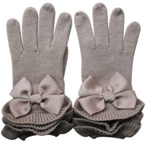Lady Fashion Bow Wool Acrylic Knitted Winter Warm Gloves (YKY5468-1) pictures & photos