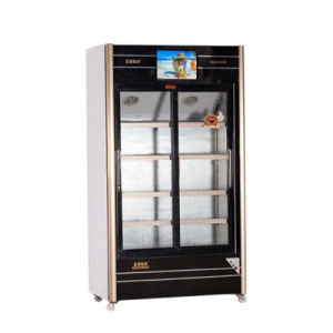 560L Sliding Glass Door Multimedia Showcase with LED Screen