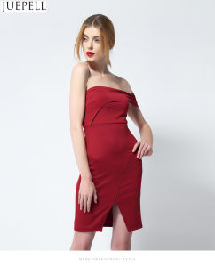 New European and American Fashion Sexy Strapless Dress Cropped Collar Chest Wrapped in Striped Suit Women Dresses OEM Factory pictures & photos