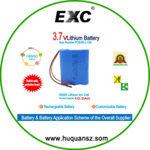 Li-ion 18650 Battery 3.7V 10.2ah Rechargeable Battery Pack pictures & photos