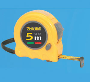 Steel Measuring Tape Plastic and Rubber Case Finger Stop Double Color Tape Measure pictures & photos