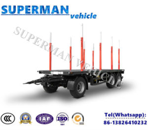 Tri Axle Flatbed Drawbar Full Dolly Truck Semi Trailer with Pole for Wood Carrier pictures & photos