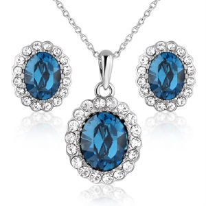 Wholesale Blue Crystal Bead Pendant imitation Alloy Jewelry Set pictures & photos