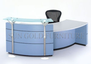 Modern Sharp Green Glass Beauty Salon Reception Desk (SZ-RT050) pictures & photos