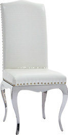 Modern White Leather Copper Nail Chrome Legs Dining Chair pictures & photos