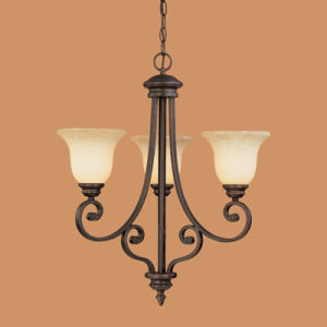 Hot Sale Iron Chandelier with Glass Shade (1203RBZ)