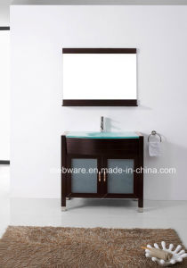 Solid Wood Bathroom Cabinet with Glass Top pictures & photos
