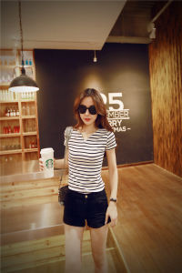 OEM Plus Size 100% Cotton Striped Ladies Blouse pictures & photos