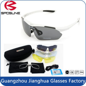 Multi Sport Sunglasses Polarized Outdoor Sport Eyewear with 5 Spare Interchangeable Lenses Mirrored pictures & photos