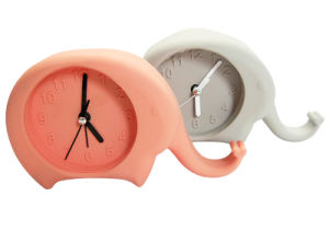 Promotional Cartoon Elephant Shape Fluorescent Color Logo Printed Silicone Desk Alarm Clocks pictures & photos