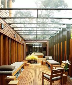 WPC Roof Ceiling Design WPC Wood for Ceiling Greener Wood Panels Pavilion Columns pictures & photos