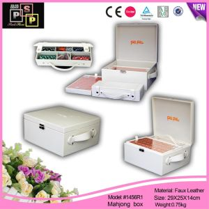 White Locked Handle Customed Logo Leather Mahjong Box Whloesale (1456R1) pictures & photos