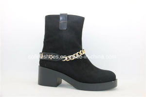 Fashion Lady Unit Heel Lady Ankle Boots with Chains pictures & photos