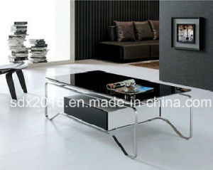Modern Tempered Glass Stainless Steel Storage Drawer Coffee Table pictures & photos