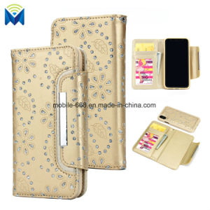 Luxury Bling Diamond Leather Mobile Phone Case Card Slot Wallet Case Cover for iPhone X and Samsung pictures & photos