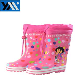Colorful Kid Rubber Rain Boots with Cartoon Dora pictures & photos