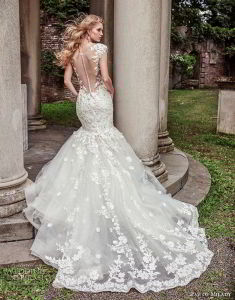 2018 Bridal Evening Gowns Cap Sleeve Lace Mermaid Wedding Dresses Z2081 pictures & photos