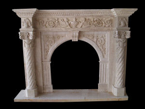 Roman Column Carving Fireplace, Stone Mantel, Marble Fireplace pictures & photos