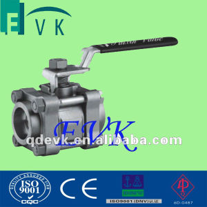 API 6D Carbon Steel 3PCS Threaded Ball Valve with ISO
