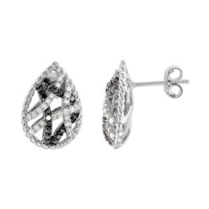 Black and White CZ Heart Shape 925 Silver Stud Earrings pictures & photos