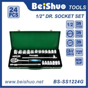 "24PCS 1/2"" Carbon Steel Socket Set with Mirror Surface pictures & photos"