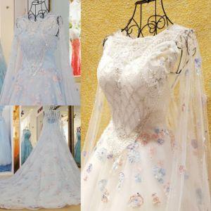 Sexy Full Length V-Neck V-Back Side Slit Flowing Chiffon Royal Blue Evening Dress (WD60)