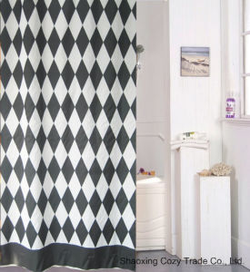Black+White Fabric Shower Curtain Polyester pictures & photos