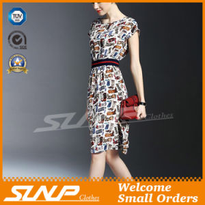 Women′s Short Sleeve Dress with Waist Belt