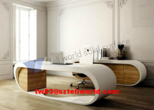Luxury Office Furniture Executive Curved Guangdong Marble Corner Modern Computer Desk pictures & photos