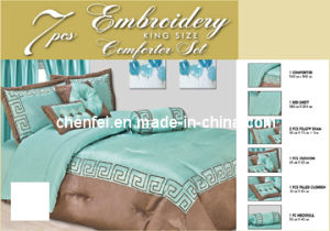 Embroidery 7PCS King Comforter Set, Luxury Bedding Set