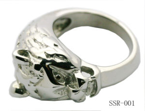 Stainless Steel Wolf Head Men′s Ring SSR-001
