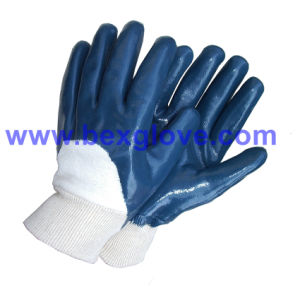 Blue Nitrile Wok Glove Open Back pictures & photos