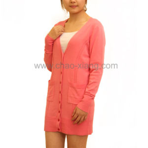 Ladies Long Cardigan with Pockets (CX12S010)