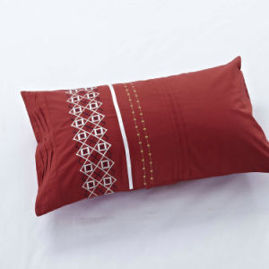 Red Geometry Shape Embroidery and Pleat Bedding Sets pictures & photos