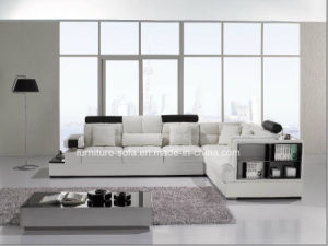 Furniture White Color Wood Frame Leather Sofa with Lockers (S044)