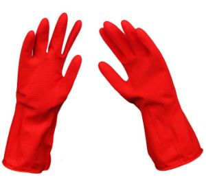 Red Washing Household Rubber Gloves pictures & photos