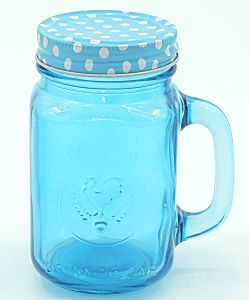 Bluelid Cock Drinking Jar with Handle Mason Jar pictures & photos