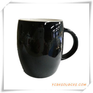 Black Color Glazed Stoneware Coffee Mug Ha08004 for Promotion pictures & photos