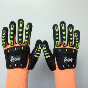 Hppe/Glass Fiber Safety Gloves Sandy Nitrile, Sponge& TPR Sewing