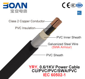 Yry, Power Cable, 0.6/1 Kv, Cu/PVC/PVC/Swa/PVC (IEC 60502-1) pictures & photos