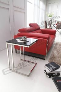 10mm Tempered Glass with Painting Stainless Steel Table Ca528 pictures & photos