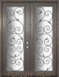 Double Wrought Iron Door Forged Iron Door with Glass Inserts pictures & photos