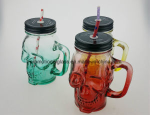 Skull Shaped Drinking Mason Jar with Straw pictures & photos